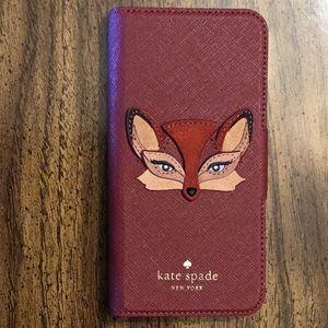 Kate Spade Leather Fox  Appliqué iPhone folio case